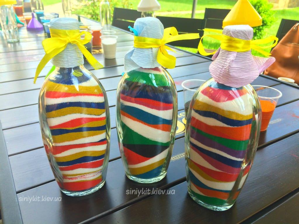 Бутылочки с цветным песком своими руками
