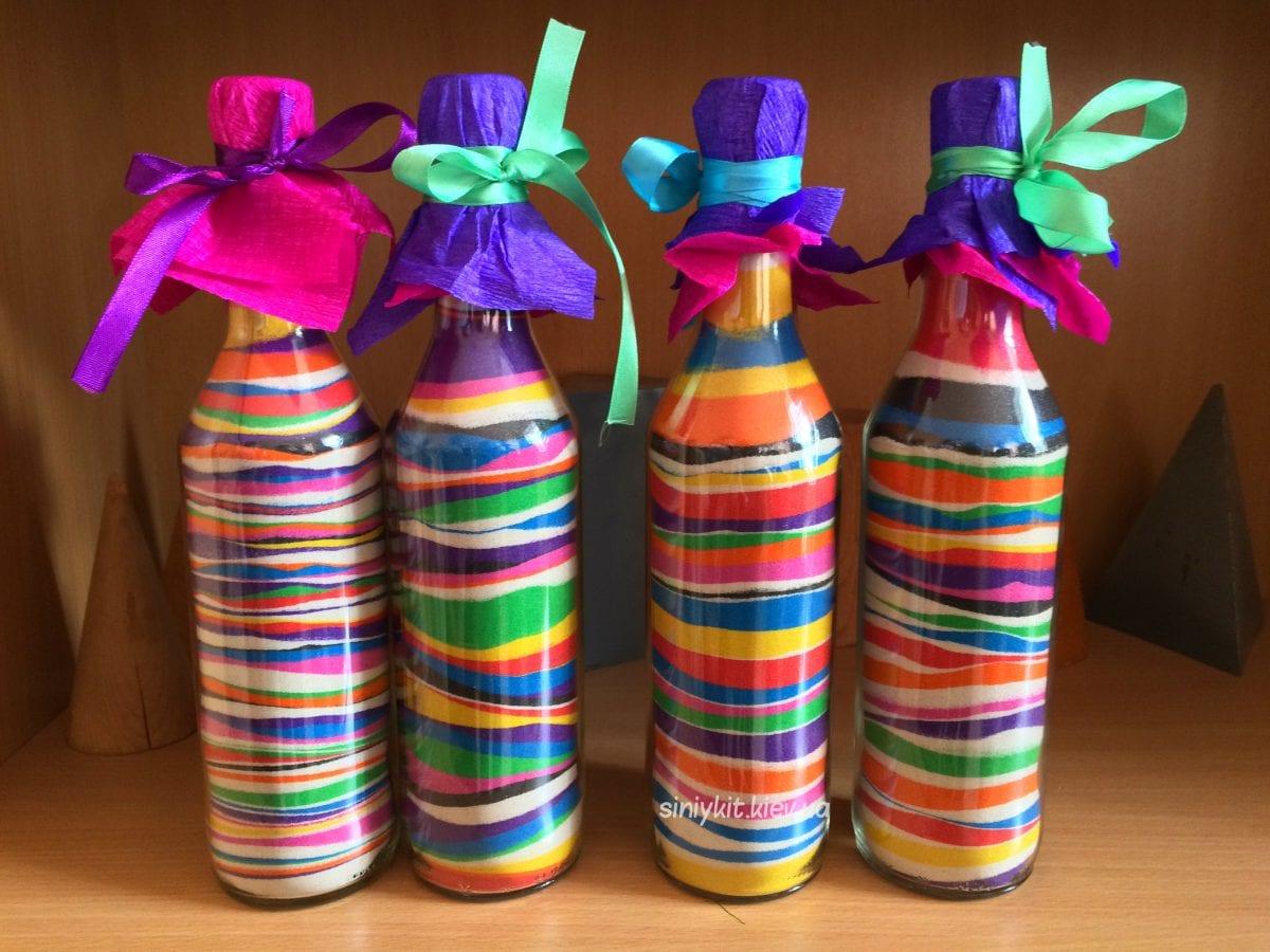 Цветной песок в бутылке своими руками 809