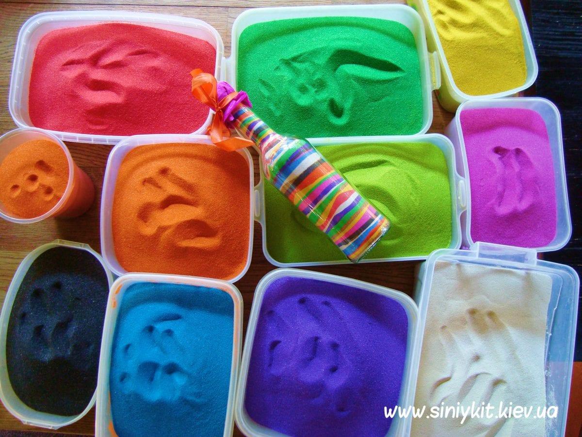Цветной песок в бутылке своими руками 989