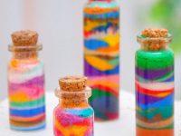 Декор бутылки разноцветным песком. Фотоотчет