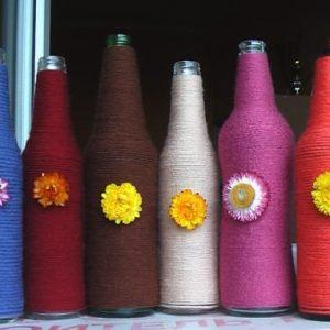 декор вазочек нитками