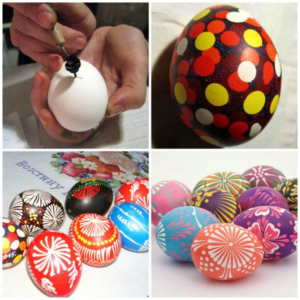 Роспись яйца писачком + крапанка