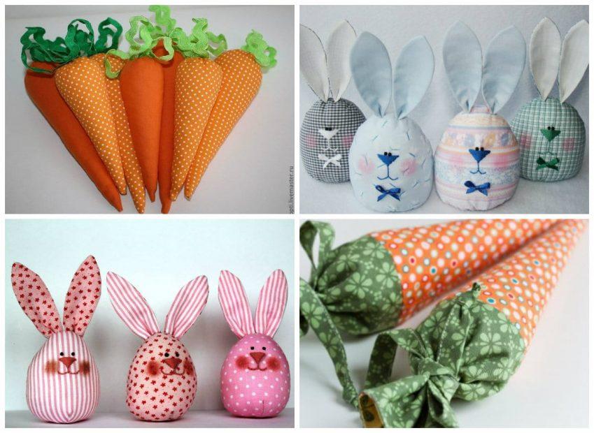 Шитье игрушек (пасхальные яйца-зайцы, морковки)
