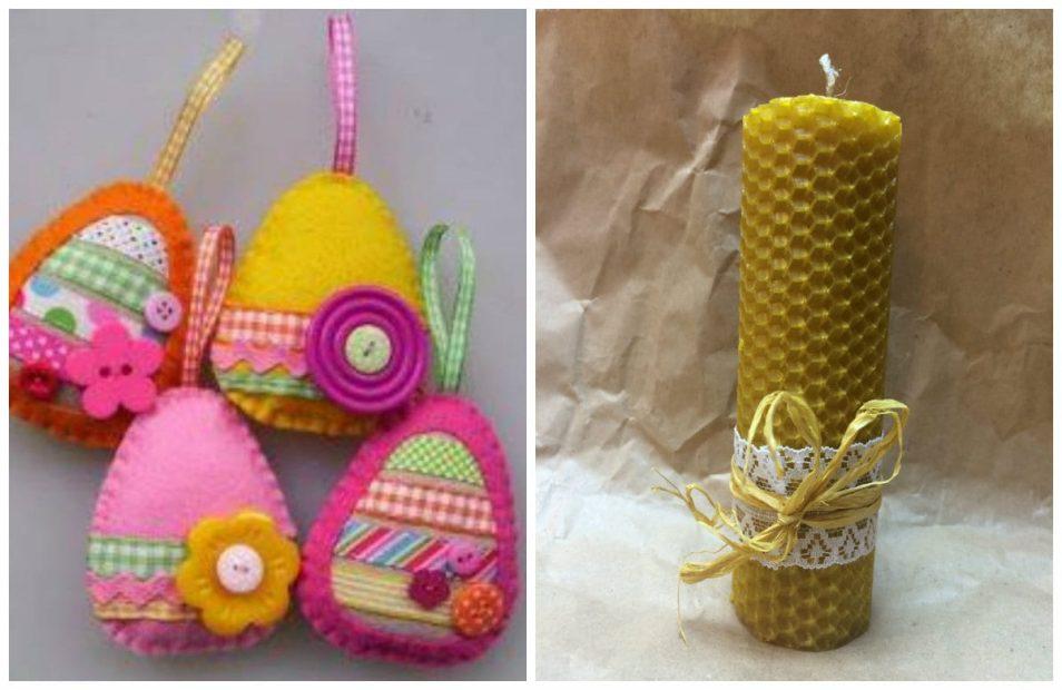 Шитье яиц из фетра+ свеча из вощины