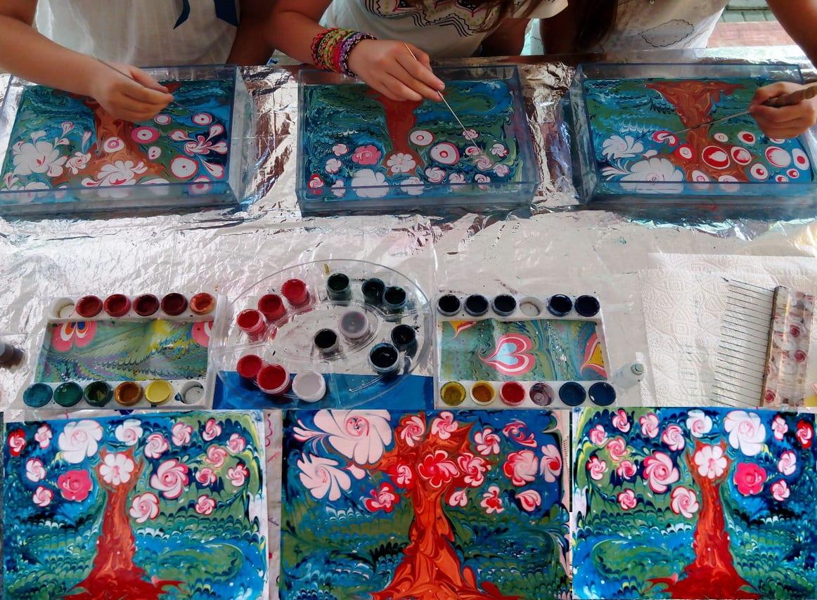 Эбру рисование на воде своими руками 6