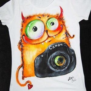 роспись футболки кот