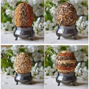Пасхальные ЭКО-яйца - декор крупой и семенами_2